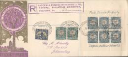 """Natinal Philatelic Exhibition - Pretotia 18 10 1948 - Bloc ´Verpak Pakkies Behoorlik"""" Registered Letter Nb 25 - Storia Postale"""
