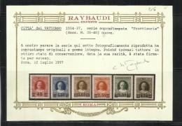 VATICANO VATICAN VATIKAN 1934 1937 PROVVISORIA PROVISIONAL SERIE SET MNH OTTIMA CENTRATURA CERTIFICATO ORO RAYBAUDI - Vaticano