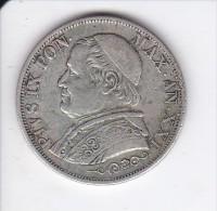 MONEDA PLATA DE VATICANO DE 1 LIRA DEL AÑO 1866  (COIN) PIUS IX - Vaticano (Ciudad Del)