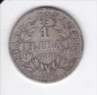 MONEDA PLATA DE VATICANO DE 1 LIRA DEL AÑO 1866  (COIN) PIUS IX (PEQUEÑA IMAGEN) - Vaticano (Ciudad Del)
