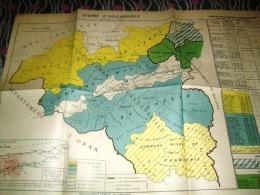 Carte Géographique Algérie-SEISME ORLEANSVILLE-Epoque Coloniale Française-1954 - Geographische Kaarten