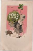 CPA Gaufrée Bonne Année Millésime 1903 Fillette Cochon - Nouvel An