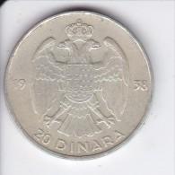 MONEDA PLATA DE YUGOSLAVIA DE 20 DINARA DEL AÑO 1938  (COIN) - Yugoslavia
