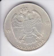 MONEDA PLATA DE YUGOSLAVIA DE 50 DINARA DEL AÑO 1938  (COIN) - Yugoslavia