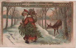 CPA Père Noel Santa Claus  Dorures - Santa Claus