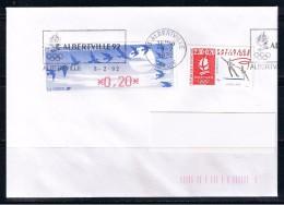 ALBERTVILLE, 2.30+0.20 Avec DIVA 0.20, Oblitération Flamme 8/02/92, Jour De L´ouverture Des J.O. 92 - Skating (Figure)