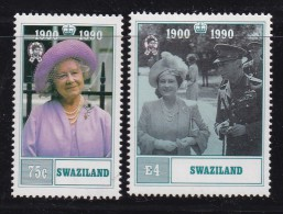 SWAZILAND, 1990, Mint Never  Hinged Stamps, 90 Years Queen Mother, 569-570, #6792 - Swaziland (1968-...)