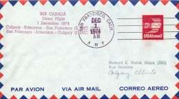 1974  First Flight  Air Canada San Francisco CA To  Edmonton And Calgary Canada - Air Mail