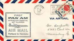 1959 First PanAm Air Mail Portland OR To Honolulu HA - Air Mail
