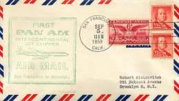 1959 First PanAm Air Mail  San Francisco CA To Honolulu HA - Air Mail