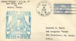1950  First Flight  TWA New York NY To Milan, Italy  FAM 27 - Air Mail