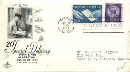 1954  20¢ Express Delivery  Sc E20 On FDC To Canada - Special Delivery, Registration & Certified