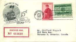1955  Certified Mail 15¢  On Certified FDC To Canada - Express & Einschreiben