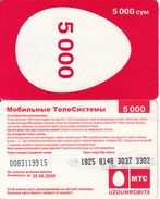 UZBEKISTAN - MTS/Uzdunrobita Prepaid Card 5000 Cym, Exp.date 30/06/08, Used - Uzbekistan