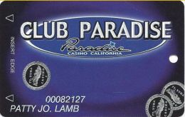 Paradise Casino Winterhaven, CA - Slot Card With Address/Phone# On 2 Lnies - Casino Cards