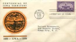 1938  Iowa Territory Centennial  Sc 838  Des Moines IO Cancel - First Day Covers (FDCs)