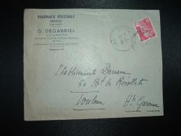 LETTRE TP MARIANNE DE GANDON 3F OBL.24-8-46 GENSAC GIRONDE (33) G. DEGABRIEL PHARMACIEN - Storia Postale