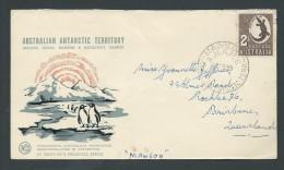 Australian Antarctic Territory 1959 Mawson Base Cover To Brisbane , 2 /- Aboriginal Art Australian Adhesive - Australian Antarctic Territory (AAT)