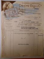 """T532 / Facture Conserves - Sardines """"Flots Bleus"""" - DESIRE GUY & Cie à DOUARNENEZ Finistère - Factures"""