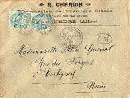 TB 931 - LSC - Lettre De Mr CHERON Pharmacien OB LE VEURDRE + BM Pour CORBIGNY Via NEVERS Gare - Marcophilie (Lettres)