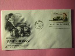 "1981 Joint Ireland / USA - James Hoban (White House Architect) Death 150th. - US ""Artcraft"" FDC, 20c Value - Emissions Communes"
