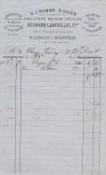 Facture 1876 REGNARD LANGUILLAT A L'Homme D'Osier Draperies Soieries VILLENEUVE L´ARCHEVÊQUE Yonne - France