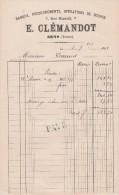 Facture 1882 E CLEMANDOT Banque SENS Yonne - Francia