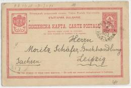 BULGARIE - 1901 - CARTE ENTIER De RUSTSHUK Pour LEIPZIG (GERMANY) - Entiers Postaux