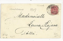 FINLANDE (ADMINISTRATION RUSSE) - 1909 - CARTE DESSINEE à LA MAIN (à La PLUME) De MUSTIALA (RARE VILLAGE) - Storia Postale