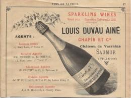 Vins / SAUMUR/Encart Publicitaire/Louis Duvau Ainé/ Chateau De Varrains/Saumur/Annuaire Didot-Bottin/1905     ILL45 - Food