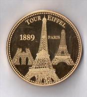 Médaille Touristique Plaquée Or 24 Carats - Tour Eiffel - Les Plus Beaux Trésors Du Patrimoine De France - 1889 - Monnaie De Paris