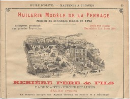 Huilerie/Encart Publicitaire/Ferrage / Rebiére Pére Et Fils/SALON/Provence/Annuaire Didot-Bottin/1905   ILL49 - Alimentaire