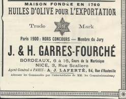 Huile D'Olive/Encart Publicitaire/Garres-Fourche/BORDEAUX-NICE/Catalogue Export Lacarriére/1901   ILL67 - Food