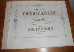 Partition Ancienne. Le Nouveau Très Facile Quadrille. Lacout.1879. - Partitions Musicales Anciennes