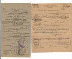 VP.0105/ Permis De Circulation 254 Et Carte Grise N°4 - RENAULT - Billancourt à Saintes - Historical Documents