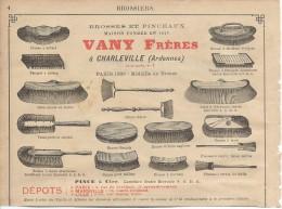Industrie/Brosses Et Pinceaux/Brosserie/Encart Publicitaire/Vany/CHARLEVILLE/Ardennes/Annuaire Didot-Bottin/1905  ILL59 - Otros