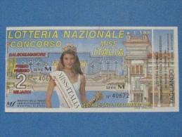 BIGLIETTO LOTTERIA MISS ITALIA 1995 CON TAGLIANDO FDS - Biglietti Della Lotteria