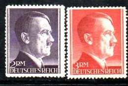 W704 - TERZO REICH 1941 , 2 + 3 Rm Unificato N. 724+725  *** MNH Adolf Hitler - Germania