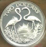BAHAMAS $2 DOLLARS BIRDS FRONT SHIP BIRD EMBLEM BACK 1974 AG SILVER PROOF KM 66a READ DESCRIPTION CAREFULLY !! - Bahamas