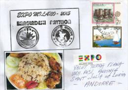La Cuisine Du Bangladesh, Lettre De L'EXPO UNIVERSELLE DE MILAN 2015,adressée En Andorre, Avec Tampon EXPO Au Dos - Food