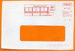 95 ERMONT  MOBILIER DE FRANCE   1981 Devant De Lettre N° EMA 3395 - Freistempel