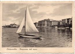 Lazio-civitavecchia Veduta Panorama Dal Mare Barca A Vela Anni/30 - Civitavecchia