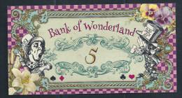 "Spielgeld ""ALICE IM WUNDERLAND"" 5 Units, Training, Education, Play Money, 130 X 70 Mm, RRR, UNC - Coins & Banknotes"