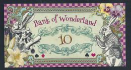 "Spielgeld ""ALICE IM WUNDERLAND"" 10 Units, Training, Education, Play Money, 130 X 70 Mm, RRR, UNC - Monnaies & Billets"