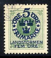SWEDEN 1916 Landstorm Fund On Ring Type 5 / 5 öre Used.  Michel 89 - Used Stamps