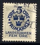 SWEDEN 1916 Landstorm Fund On Ring Type 5 / 4 öre Used.  Michel 88 - Sweden