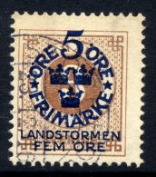 SWEDEN 1916 Landstorm Fund On Ring Type 5 / 3 öre Used.  Michel 87 - Sweden