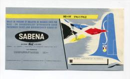 Billet Ticket De Passage / Bagages émis Par La Compagnie Aérienne Sabena 1967-1962 - Belgian Airlines - Aviation - Avion - Europe