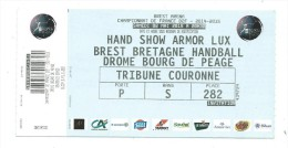 38 NC - Ticket HAND BALL - D2F -2014--2015 - BREST BRETAGNE HAND BALL  DROME -  02-05-2015 - Handball