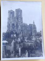 Grande Photo Ruines Cathédrale REIMS Guerre WWI Cliché G. VERNEAU - Guerra, Militari
